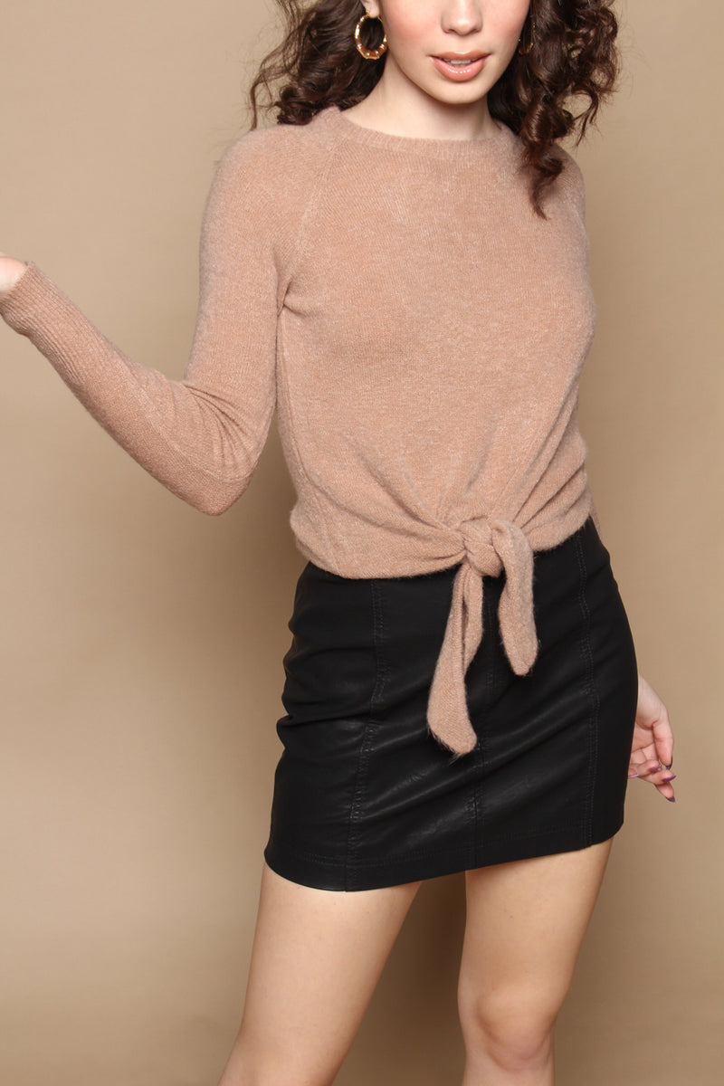 Tie Front Fitted Sweater - Mocha
