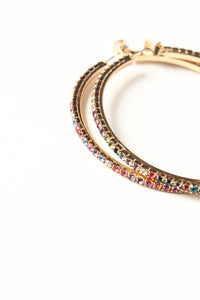 Multi Color Jeweled Hoop Earrings
