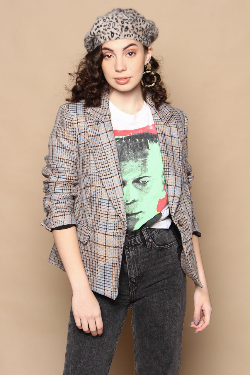 Free People Chess Plaid Blazer