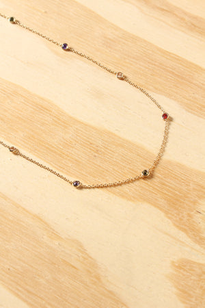 Dainty Multi Colored Stone Long Necklace