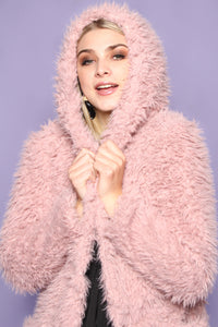 Impossibly Soft Faux Fur Hooded Jacket - Baby Pink