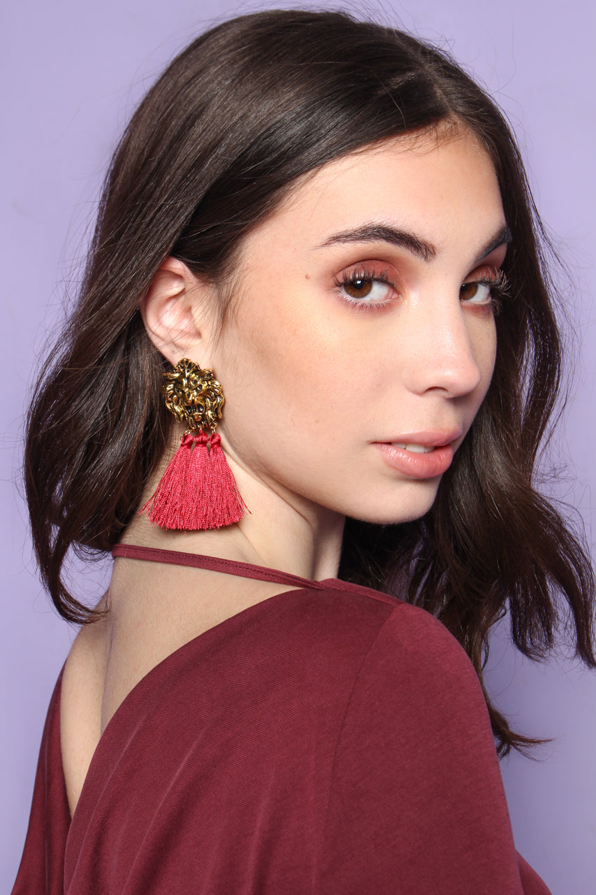 Lion Tassel Statement Earring - Burgundy