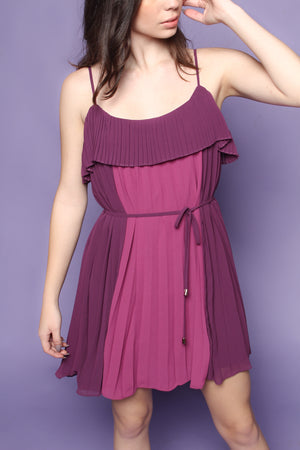 Short and Pleat Colorblock Dress - Purple
