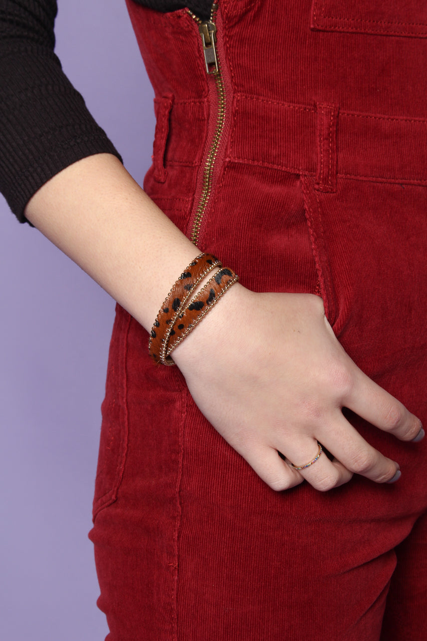 Leopard Wrap Bracelet - Brown