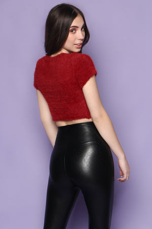 What's The Fuzz Cropped Sweater - Wine