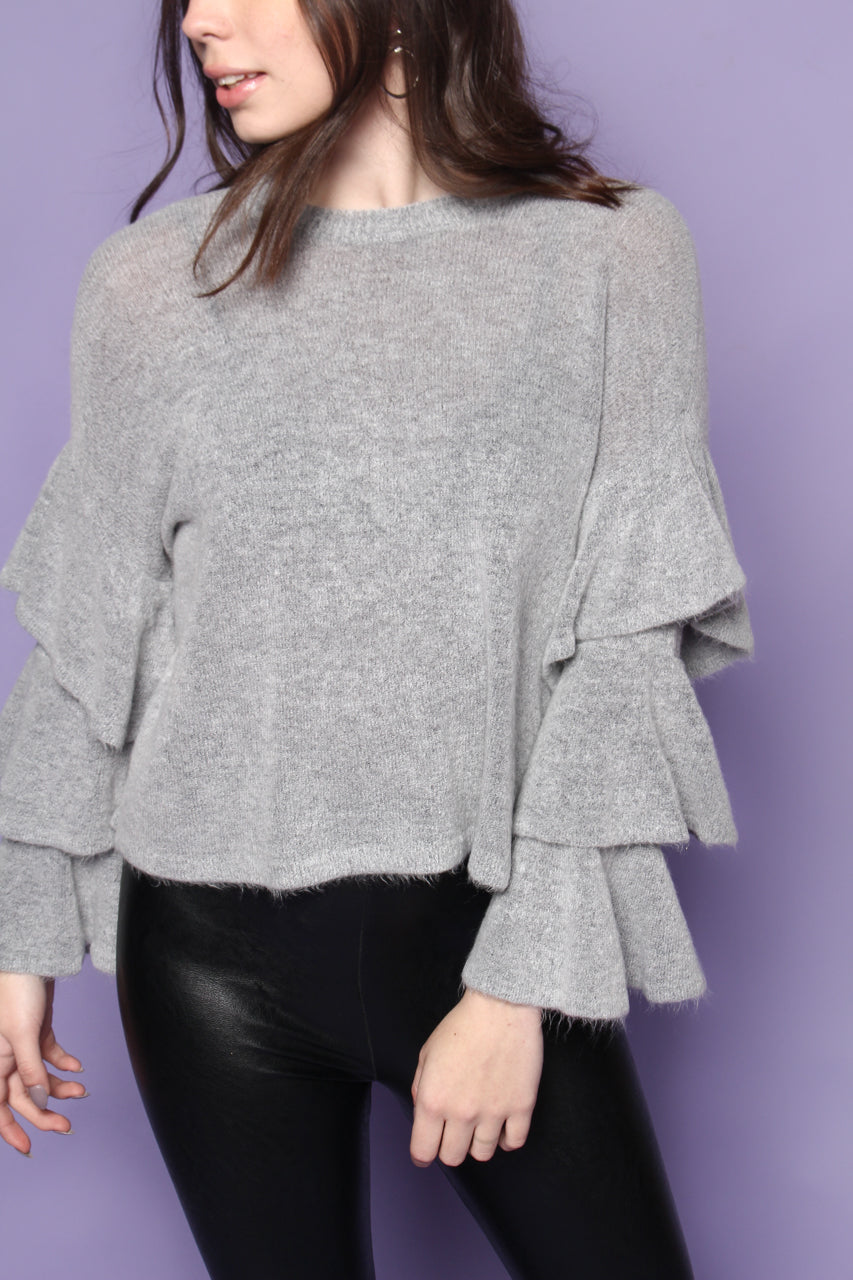 Ruffle Sleeve Sweater - Dove Gray
