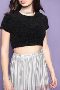 What's The Fuzz Cropped Sweater - Black