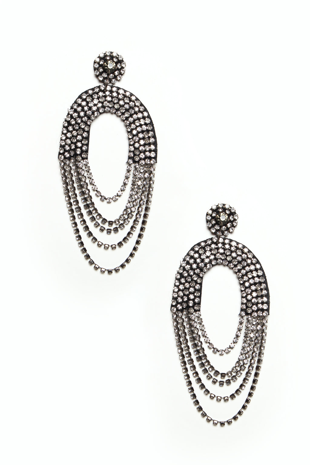 Rhinestone Arch Statement Earrings