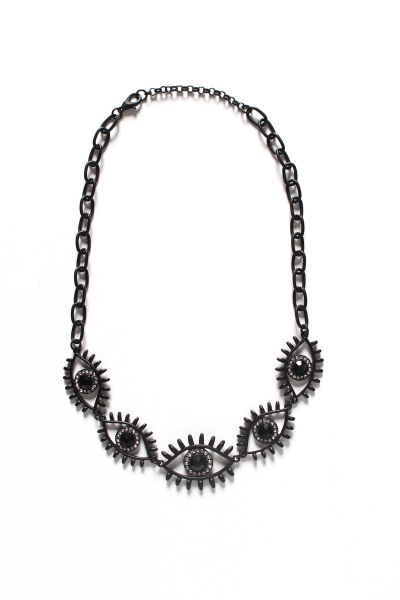 Eyes On You Statement Necklace - Black