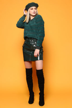 Highwaist Belted Faux Leather Skirt - Dark Green