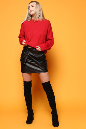 All Tied Up Highwaist Faux Leather Skirt - Black