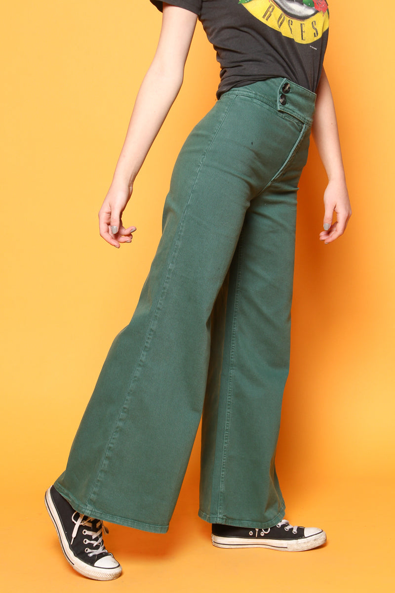 Free People Youthquake Highwaist Bell Bottom - Green