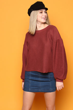 Margeaux Cropped Puff Sleeve Pullover - Burgundy