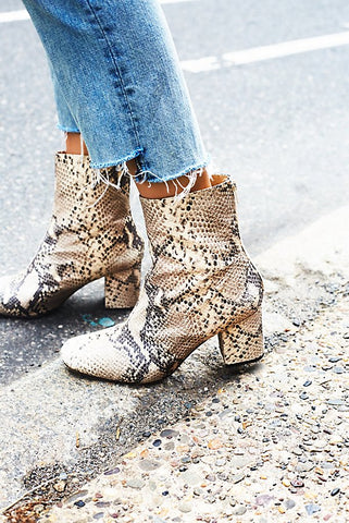 Free People Cecile Ankle Boot - Tan Snake