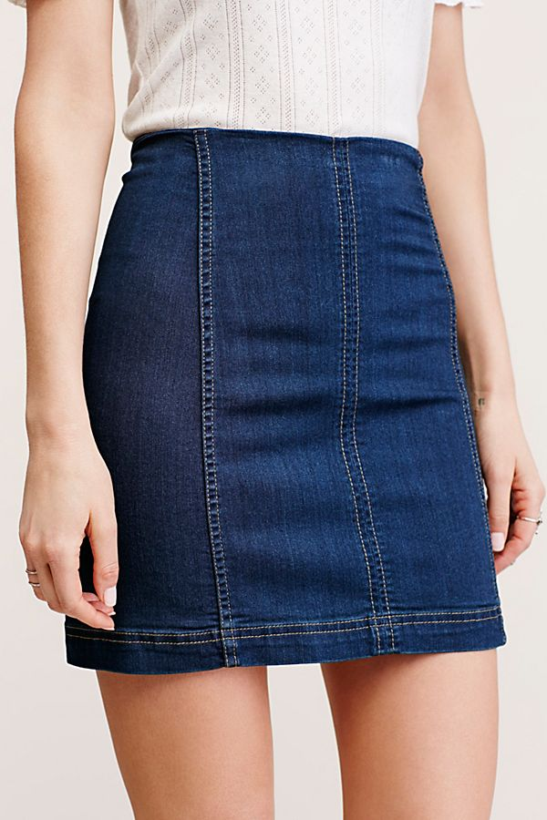 Free People Modern Femme Denim Mini Skirt - Dark Indigo