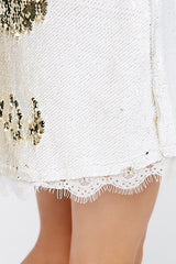 Free People Seeing Double Sequin Slip - White & Gold