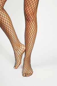Free People Libby Fishnet Tights - Hunter Green