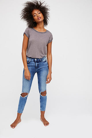 Free People High Rise Busted Skinny - Winter Blue