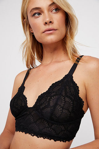 Free People Let Me Kiss You Soft Bra - Black