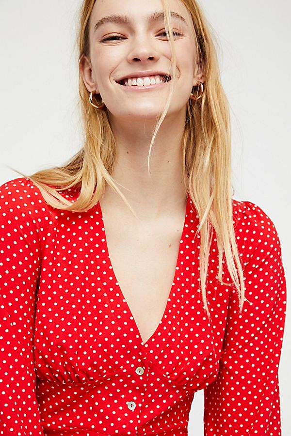 Free People Love Street Polka Dot Top - Red
