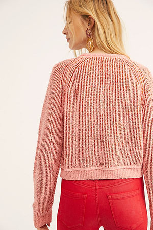 Free People High Low Cropped Knit - Blush