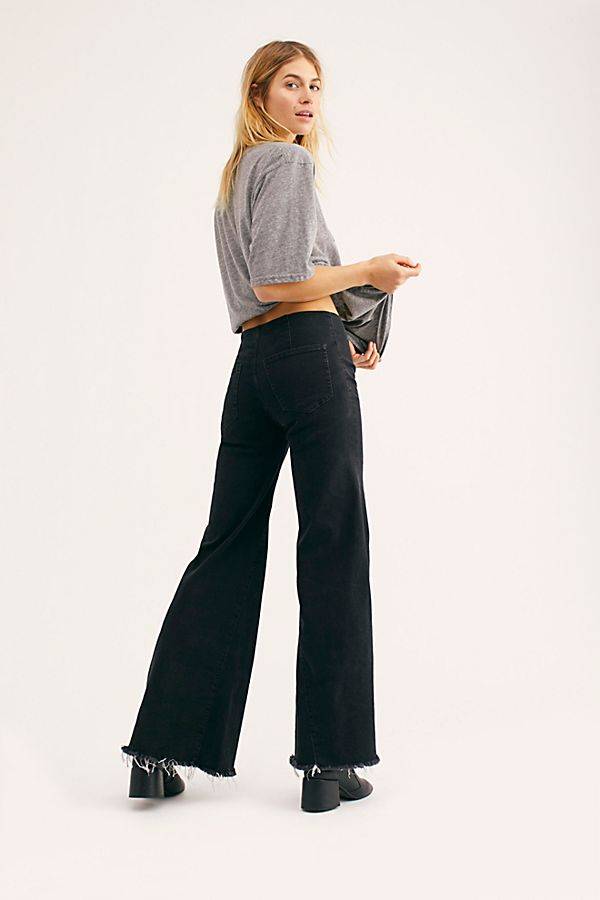 Free People Drapey A Line Pull On Jeans - Black