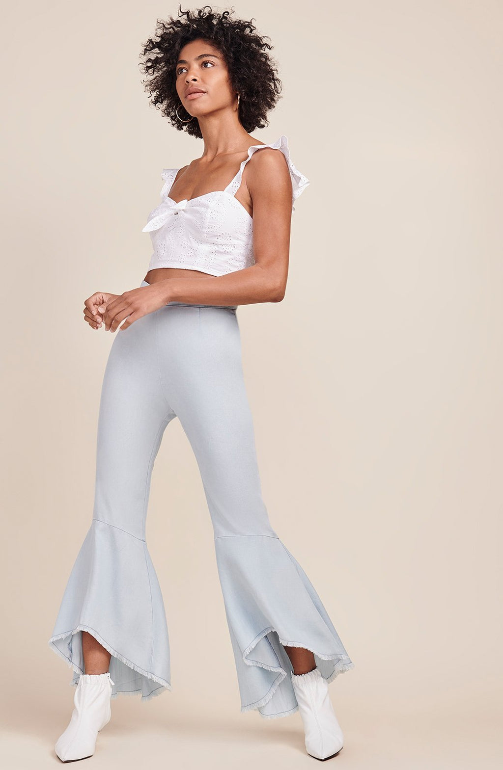 BB Dakota Atwell Chambray Ruffle Bell Bottoms