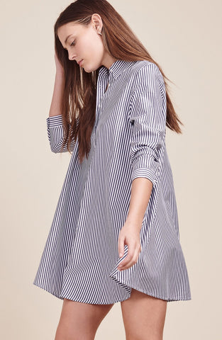 BB Dakota Olsen Trapeze Shirt Dress - Blue Pinstripe