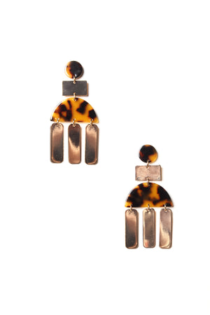 Bar None Acrylic Statement Earring - Tortoise