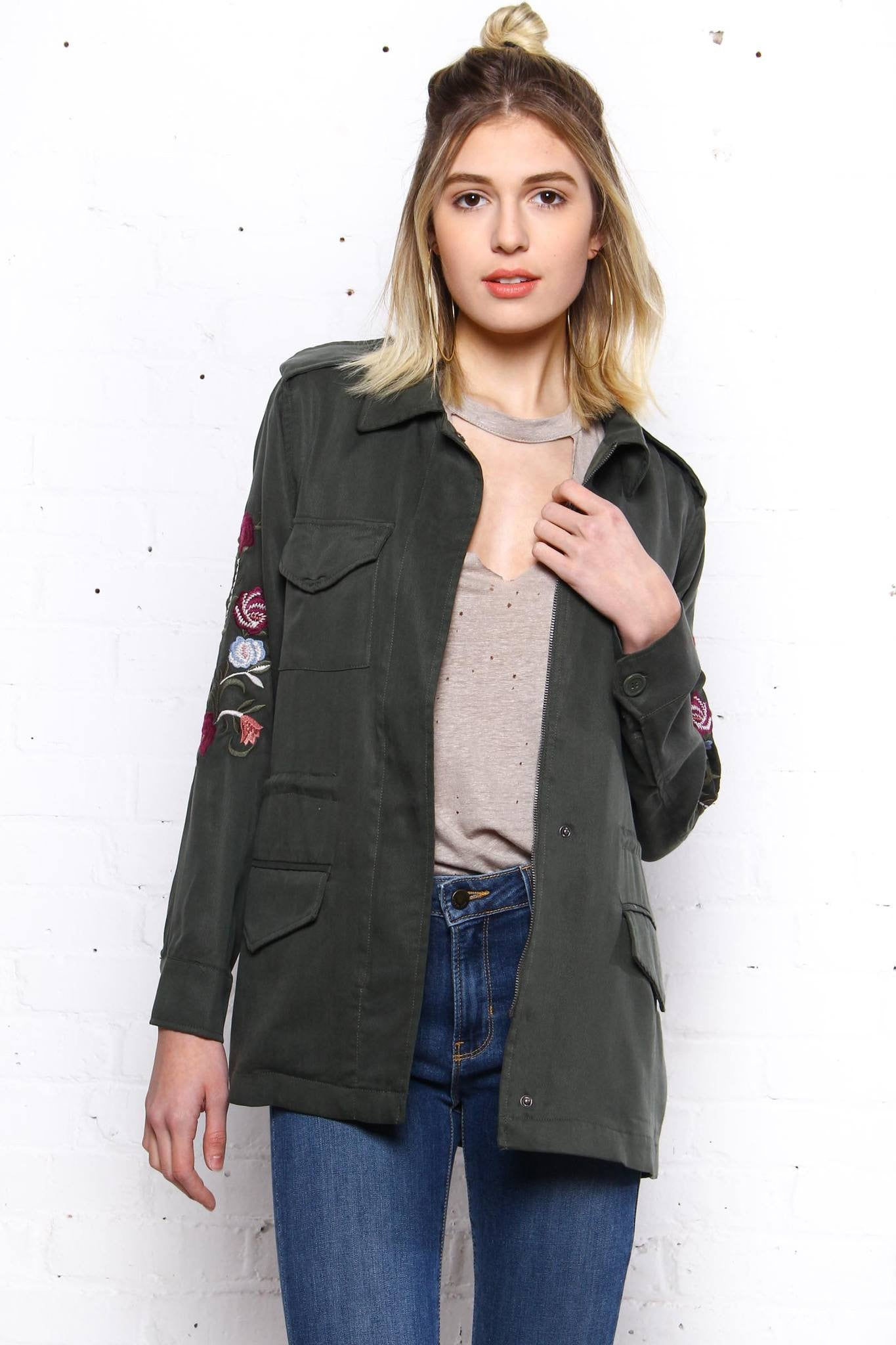 BB Dakota Miller Embroidered Army Jacket