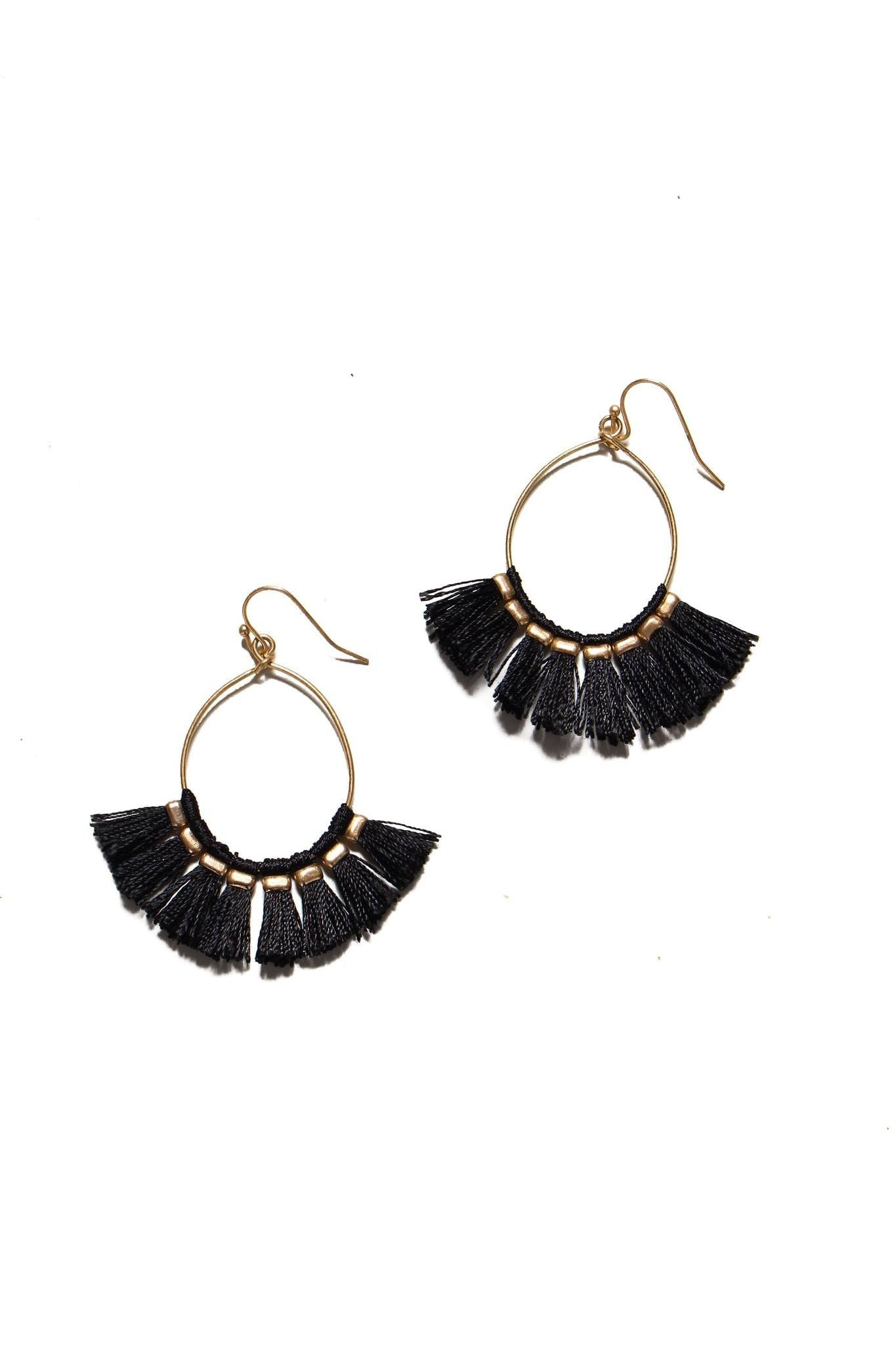 About Town Fringe Earrings - Black