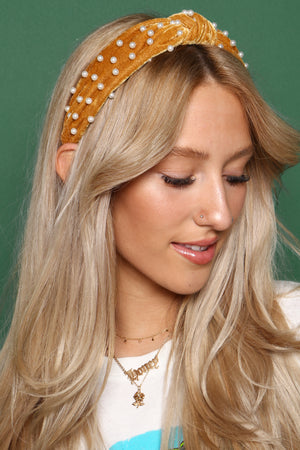 Velvet Twist Pearl Headband