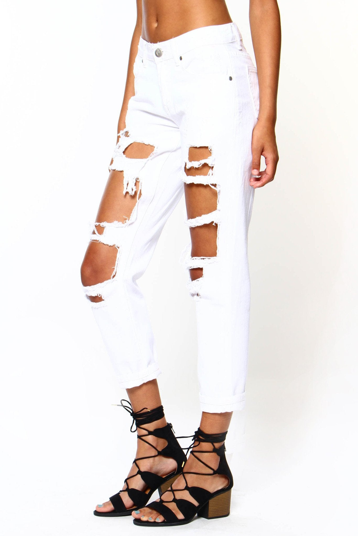 Reverse Billie Trashed Boyfriend Jeans - White