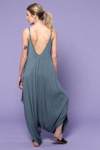Slouchy Harem One Piece Jumpsuit - Antique Blue