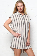 Mya Striped Shirt Dress