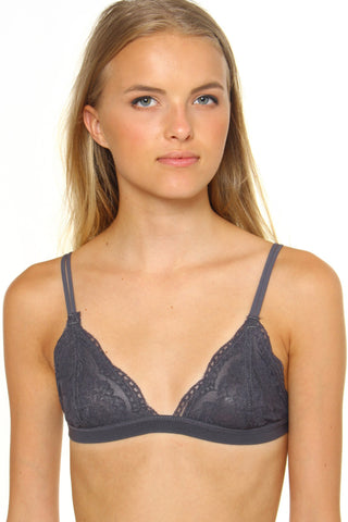 Lace Triangle Bralette - Charcoal