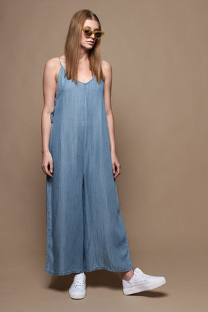 Easy Does It Wide Leg Chambray Jumpsuit