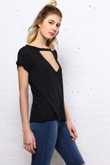 In A Fix Distressed Tee - Black