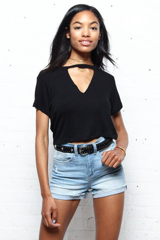 Cut Back Cropped Tee
