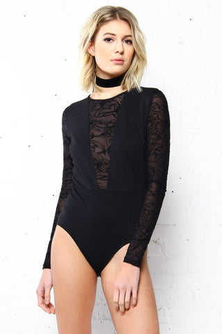 MINKPINK Shadows Flocked Bodysuit