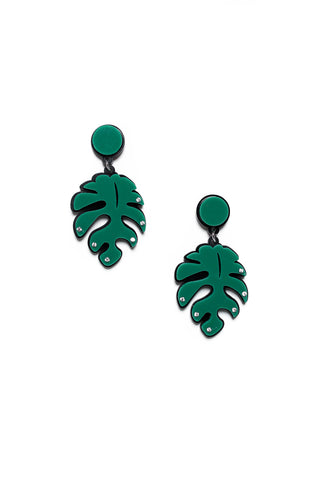 Acrylic Palm Leaf Earrings - Calico