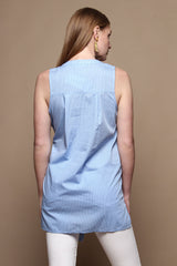 Tie Waist Buttondown Top - Light Blue