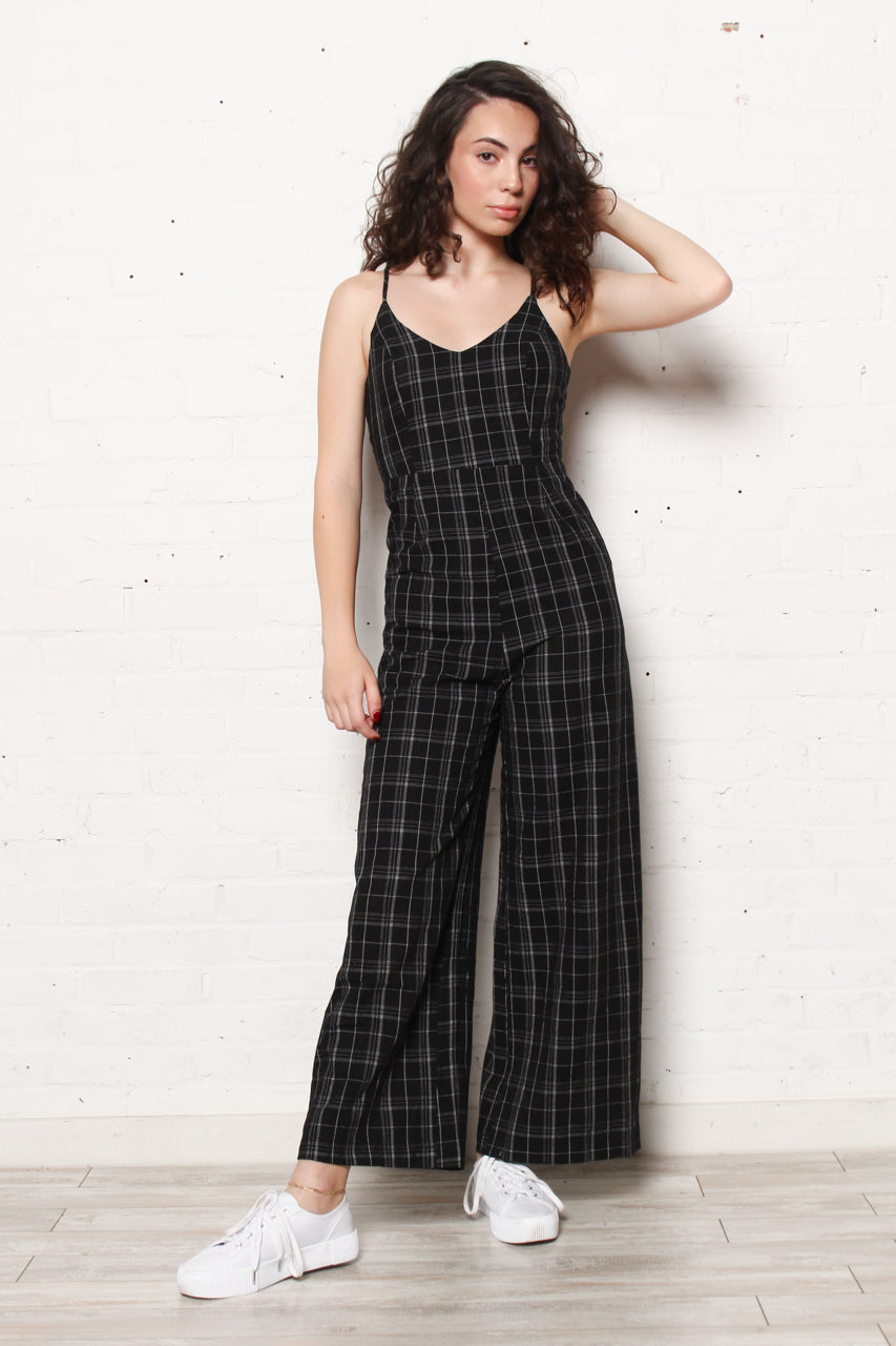 Tie Back Plaid Jumpsuit