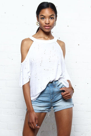 Carlin Cold Shoulder Distressed Tee
