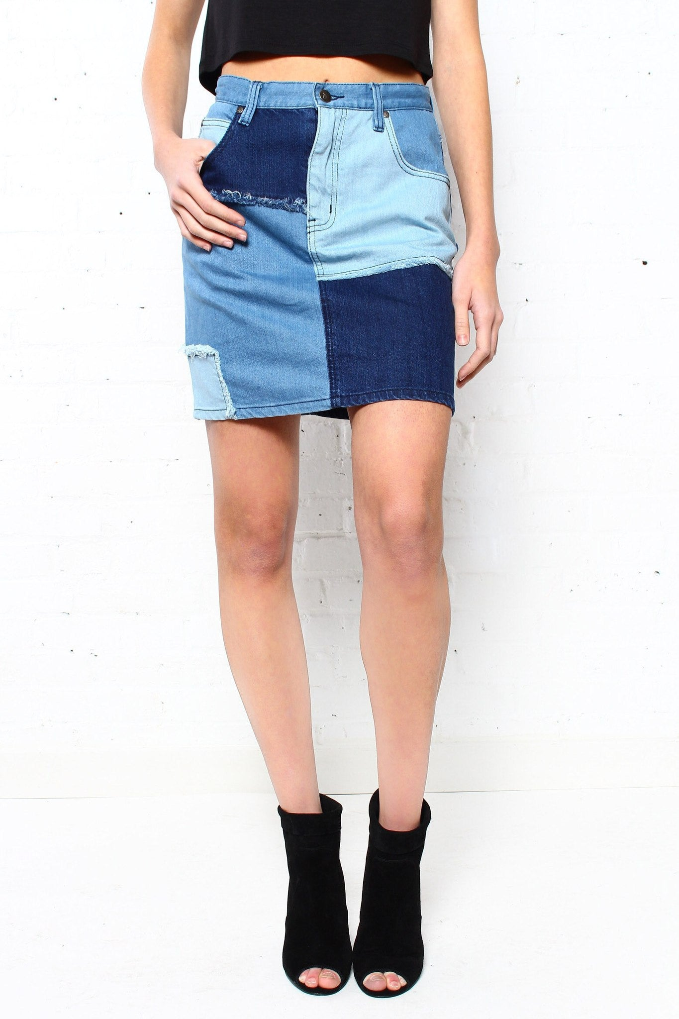 MINKPINK Soul Patch Denim Mini Skirt