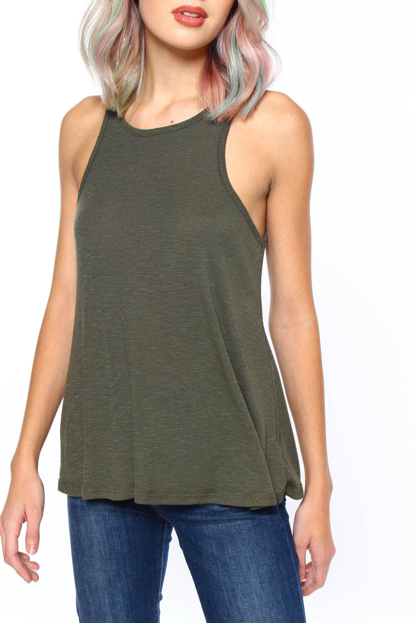 Free People Long Beach Tank - Olive