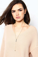 One Way Lariat Necklace - Black
