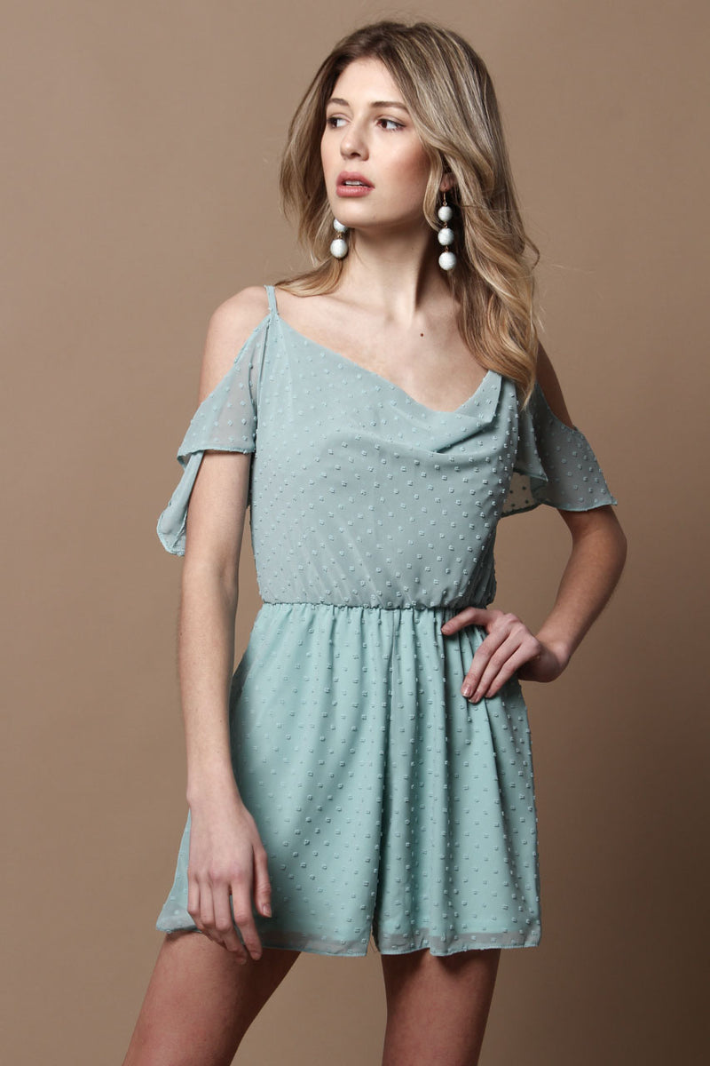 Oh My Love Cold Shoulder French Dot Playsuit - Mint