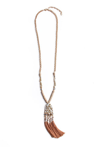 All For Show Tassel Necklace - Brown