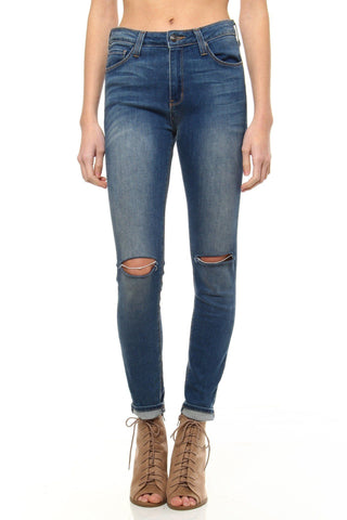 Slit Decision Skinny - Medium Wash